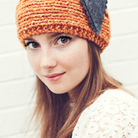 Tangerine Knitted Headband with gray felt heart