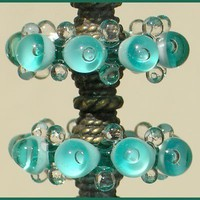 Glass Teal Beads, Handmade Lampwork Glass Beads, Bubble Disc Set (6)