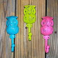 Wall Hook /Pink /Teal /Lime Green Owl /Ornate /Cottage,Shabby Chic /Key Hook /Accessory /Coat hanger /Wall Decor /Towel Hook /Whimsy