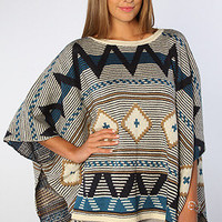 The Dupree Phoenix Sweater Poncho in Blue