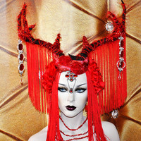 MADE TO ORDER Sci- Fi Cyber Futuristic queen vampire princess gaga Red stone fringe antler fantasy headdress headpeice wig fire goddess