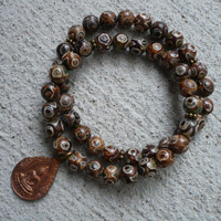 Unisex Buddha Coffee Agate Bracelet