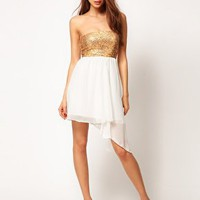ASOS Sequin Bandeau Dress with Chiffon Skirt at asos.com