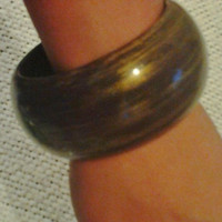 Brown & Gold Painted Wood Bangle Bracelet - Vintage  1980's