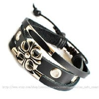 Jewelry bangle leather bracelet men bracelet made of black leather and metal wrist bracelet  SH-0727