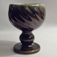 "Goblin Green Hull Swirl Goblet  - 5"" Tall - Vintage/Antique- Pre 1950's F5 USA"