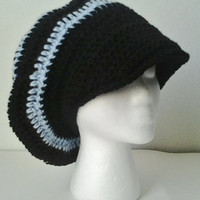 Oversized Black & Light Blue Striped Crocheted Brimmed Slouchy Beret/Hat - Teen/Adult Size - mamabecca73- Etsy
