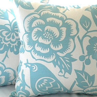 "Robin egg blue and ivory  pillow cover - ""18x18"" pillow cover"