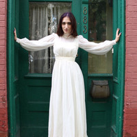 Dress Wedding Gown 1970s Vintage 70s Prairie Boho Romantic Off White Dress S