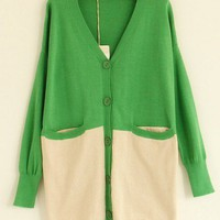 V-Neck  Green long sleeve casual shrug sweater   style zz92702401 in  Indressme
