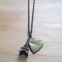 Paris Eiffel Tower with Amour Heart &quot;French Love&quot; Necklace