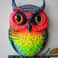 Owl art whimsical colorful owl