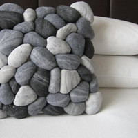 River rock pillow cover by miasole on Etsy