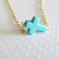 18k Sideways Cross Necklace, Gift Necklace