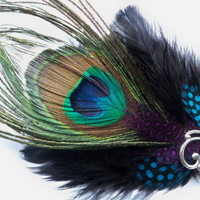 Peacock Feather Hair Clip Fascinator by DinahDesigns on Etsy