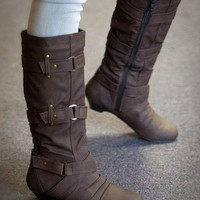 Bumper Chika-01 Round Toe Knee High Buckle Boot (Taupe) - Shoes 4 U Las Vegas