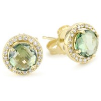 Kalan by Suzanne Kalan Round Green Envy Topaz Earrings - designer shoes, handbags, jewelry, watches, and fashion accessories | endless.com