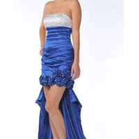 Graceful A-line Strapless High Low Sequin Cocktail Dress-$145.98-ReliableTrustStore.com