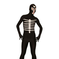 Full Body Black and White Lycra Spandex Back Zipper Skeleton Unisex Zentai Suit Fancy Dress for Halloween Sale [TWL1112260181] - £23.39 : Zentai, Sexy Lingerie, Zentai Suit, Chemise