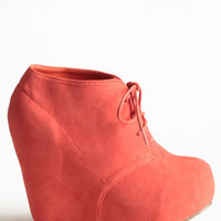Coral Collaboration Wedge Bootie - $45.00: ThreadSence, Women&#x27;s Indie &amp; Bohemian Clothing, Dresses, &amp; Accessories