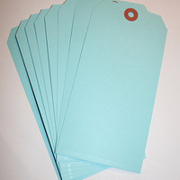 5 LARGE Pastel Blue Shipping tags DETASH hand tags, manila shipping tags