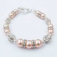 Swarovski Peach Bracelet, Wedding bracelet, bridesmaids gifts, Christmas gift