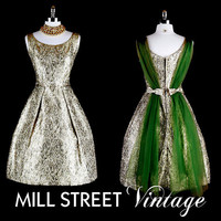 Vintage 1950s 50s Dress Gold Green Metallic by millstreetvintage