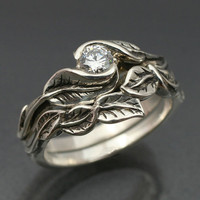 WEDDING RING SET Delicate Leaf Engagement ring with by BandScapes