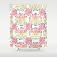 Beautiful Shower Curtain - Rainbow Mandalas - watercolor medallions, pretty colorful shower curtain, colorful pattern extra long