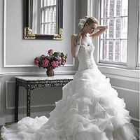 [$249.37 ] Glamorous Satin & Organza Satin Ball Gown Sweetheart Neckline Wedding Dress With Handmade Flower & Feather - Edressbridal.com