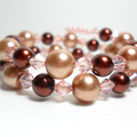 Wrap Bracelet Chocolate Brown Cream and Pink Pearl Memory Wire Bracelet