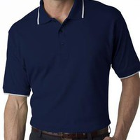 UltraClub Collar Polo | UltraClub Mens Interlock Polo with Collar Tipping