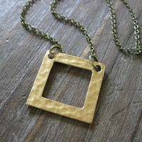 Square One Necklace - Gold Hammered Open Metal Square Charm on Fine Antique Brass Chain - Unisex Modern Minimalist Gift Idea