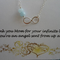Mothers INFINITY Necklace, Sterling Silver Infinity & Gemstone Necklace, Thank You Mom Card, Mother of the Bride