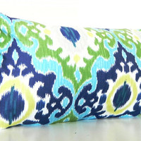 Green Ikat Pillows, Long Bolster Pillow, Bohemian Decor