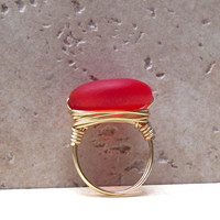 Tangerine Tango Sea Glass Ring:  Gold Wire Wrapped Ring, Red Orange Beach Autumn Jewelry, Size 6