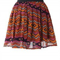 Aztec Zig Zag Print Skater Skirt - New Arrivals - Retro, Indie and Unique Fashion