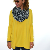 Galloway Yellow Mustard Piko Long Sleeve Top