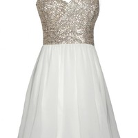 White One Shoulder Dress with Sequin Top&amp;Chiffon Skirt