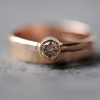 Diamond Wedding Ring Set, 14k Rose Gold, Champagne Diamond, Simple Ring, Recycled Gold