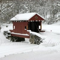 Covered Bridge Covered With Snow by photosbylinda on Etsy