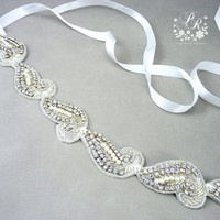 Beaded Rhinestone and Pearl Head piece Wedding Jewelry Bridal hair band