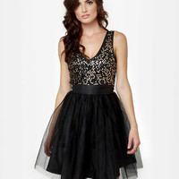 Little Black Dress - Tulle Dress - Sequin Dress - $50.00