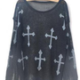 Cross Print Long Sleeve Hollow Knitted Sheer Sweater S000272