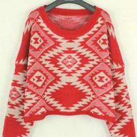 Geometric pattern round neck Bat-sleeved sweater S000198