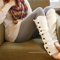 The Miss Molly - off-white Slouchy Button Down LEG WARMERS w/ Ivory Knit Lace - Legwarmers (item no. 7-16)