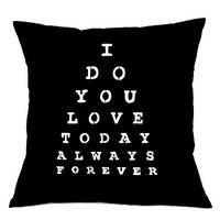 Pillow Cover - I love You Eye Chart - Hand Screen Printed Cushion