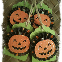 FOUR Halloween Pumpkin Jack o Lantern Orange Black Paper Rosette Lime Green Handmade Gift Tags