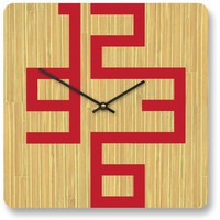 10in Cornell Bamboo Modern Wall Clock by pilotdesign on Etsy