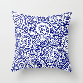 Midnight Blue Maze Throw Pillow by PeriwinklePeacoat